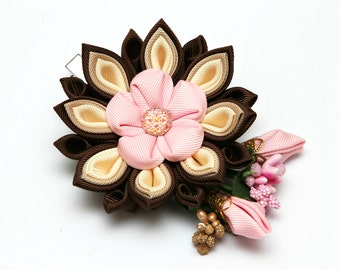 Pink, brown Kanzashi  flower hair clip. Japanese hair clip. Kanzashi hair flower.  Japanese Fabric Flower Clip.