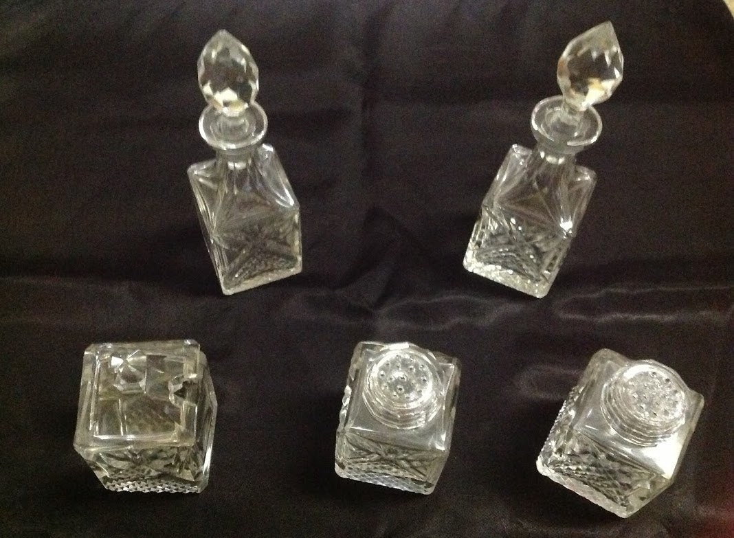Antique Crystal Condiment Set Very Elegant And High Quality