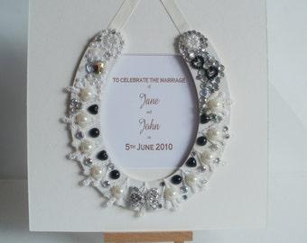 Personalised wedding horseshoe - pearl wedding horseshoe - black and white - framed or unframed