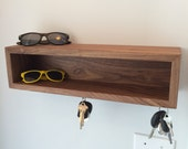 Floating Shelves with Magnetic Key Hooks - Solid Black Walnut