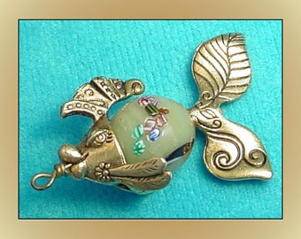 Fancy Fish Pendant Charm Vintage Glass Bead Body
