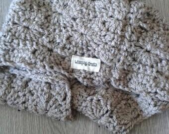 Brown tweed crochet cowl scarf