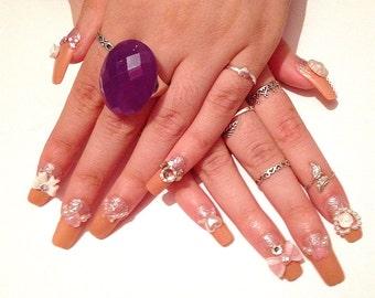 Cute Elegant Decoden Nails Full Set