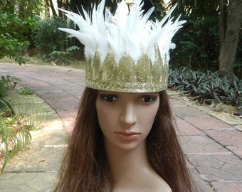 Ivory Feather headpiece headband # HWW15009
