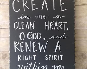 Create In Me a Clean Heart - Psalm 51:10 on canvas