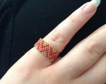 Tangerine, Raspberry & Lime Zigzag Ring