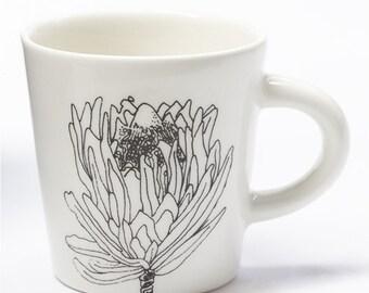 Ceramic Coffee Cup - Small Protea Flower