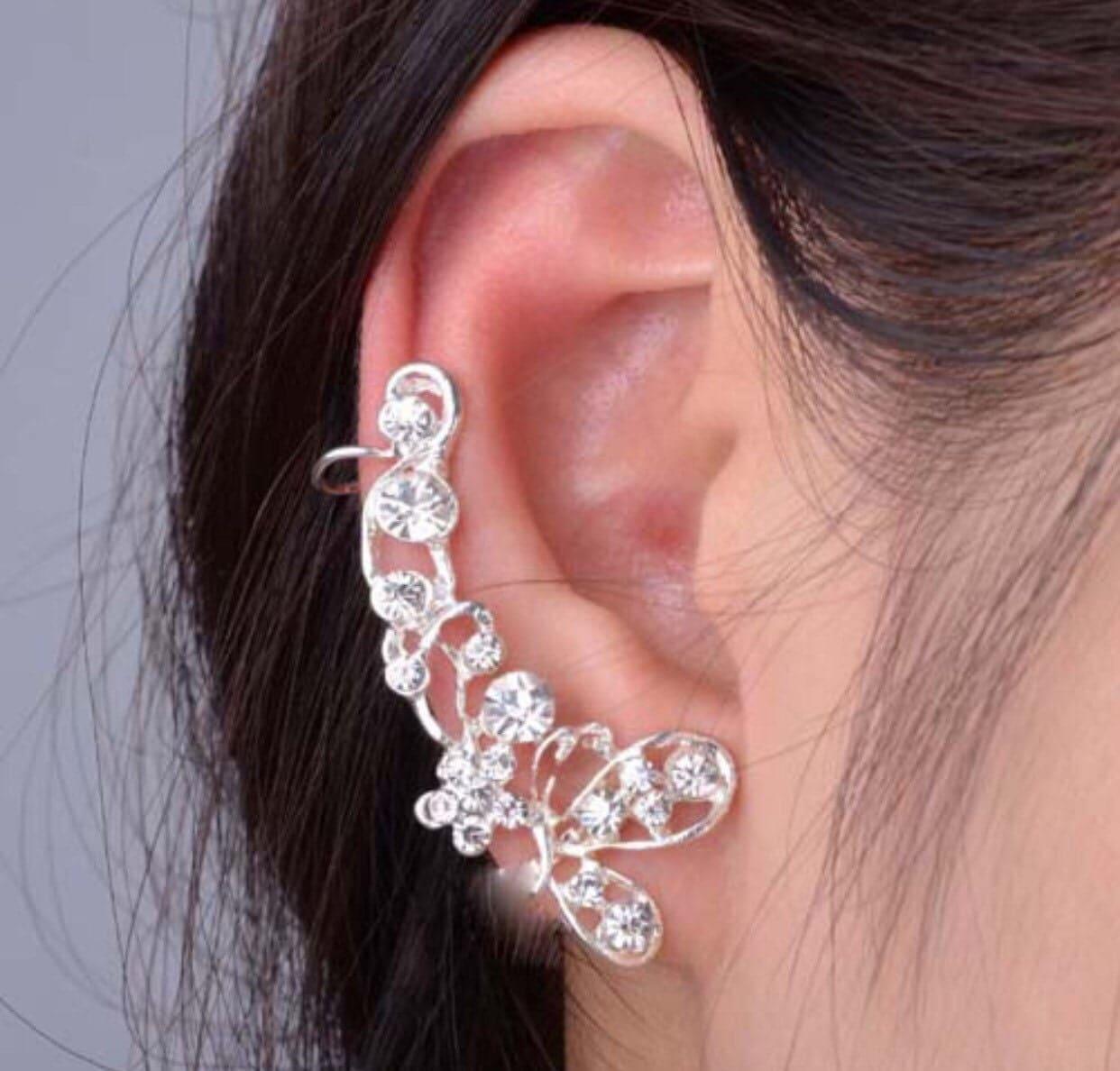 sale silver diamond ear cuff ear wrap right by. Black Bedroom Furniture Sets. Home Design Ideas