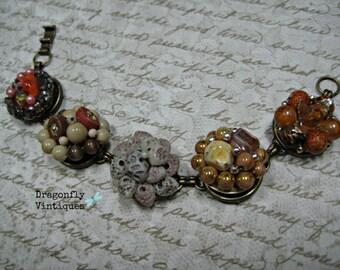 Vintage Earring Bracelet, Repurposed, Vintage Earrings, Wedding, Recycled, Upcycled, Earth Tones/37