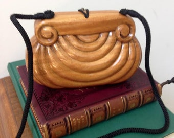 Timmy Woods Vintage Acacia Wood Cross Body Bag
