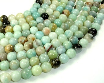 Amazonite, Round beads, 10mm ( 10.5 mm),15.5 Inch, Full strand, Approx 37 beads, Hole 1 mm (111054017)