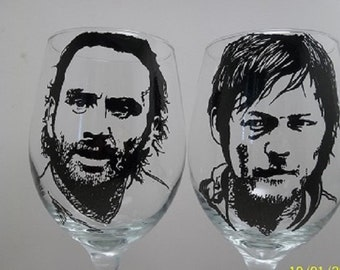 The Walking Dead, Rick Grimes, Daryl Dixon, Hand painted glasses, Painted wine glasses