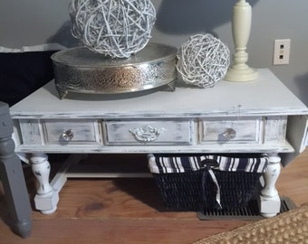 Distressed White Coffee Table, Vintage Coffee Table, White Coffee Table,