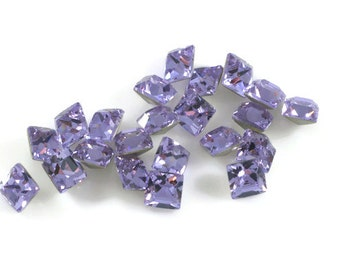 Swarovski Crystal Stone 4428 Violet F-Foiled 6mm Square