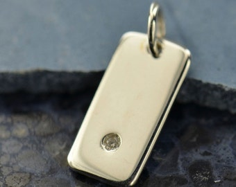 Sterling Silver, Rectangle Pendant, Silver Necklace, Genuine Diamond, 1 Pt Diamond, Diamond Pendant, Geometric Charm, Diamond Charm