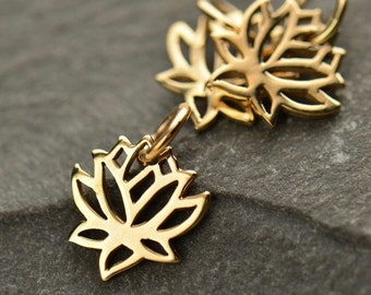 Tiny Bronze Lotus Charm