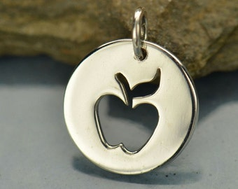 Sterling Silver Disk with Apple Cutout