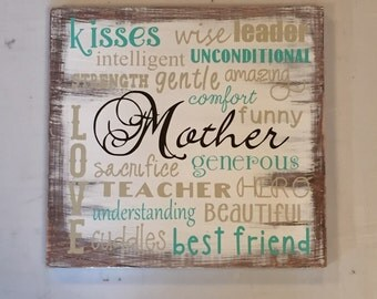 Mother words/ tan, mint, white, and brown