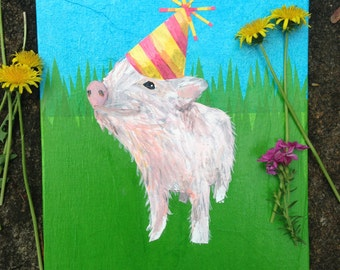 Piglet in party hat- Wall art
