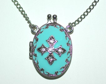 Turquoise Locket Necklace, Silver Turquoise Locket Necklace, Bridesmaids Gifts, Locket Necklace