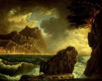 Storm on the Italian Coast, Oil Painting, Seascape, Classical Art
