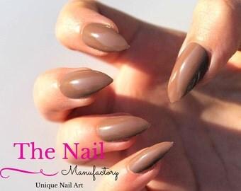 Chocolate Brown False Nails Glossy - Handpainted Fake Nails - Choose Stiletto Nails, Oval or Square Nails - Artificial Nails -  Nail Art