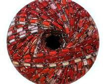 Jazzy Sparkle Ladder Yarn #B103 Red Blaze, Ribbon Ladder Yarn, Trellis Ladder Yarn, trellis ribbon Ladder yarn, ribbon yarn, Browns