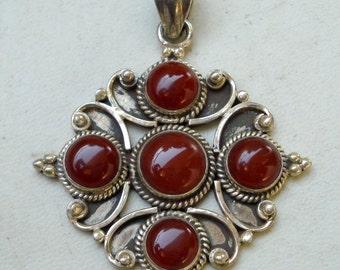 estate vintage sterling silver pendant necklace carnelian gemstones