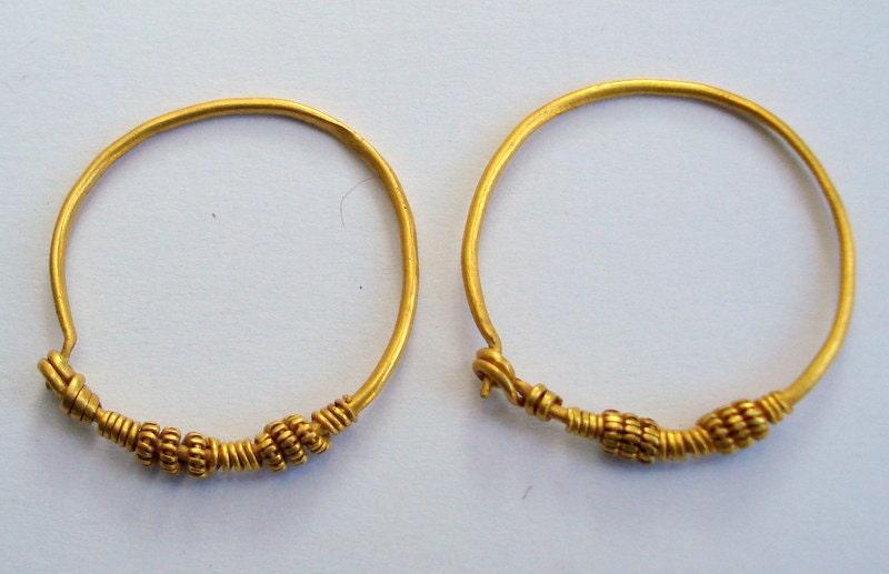 24k gold earrings solid hoop vintage antique tribal