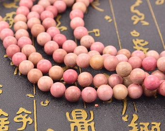 15.5inch Natural Pink Rhodonite Beads Rhodonite Gemstone Beads Round 10mm 8mm