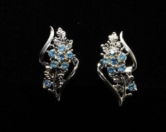 Classic Coro Ice Blue Rhinestone Earrings