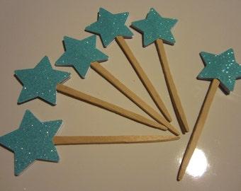 Glitter Star Cupcake Picks 6CT