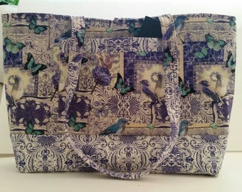Tote Bag, Purse, Birds and Butterflies, Handmade, Ready to Ship.