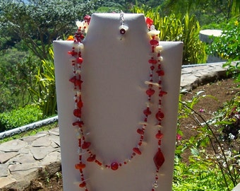 NB138 - Red and White, Long Necklace and Single Strand, Custom Design, One of a Kind, Handmade Beaded Jewelry