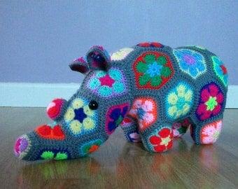 African flower crochet rhino