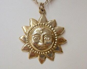 Vintage 1990's Sterling Silver Sun Pendant necklace #77