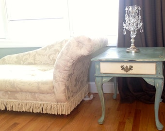 Shabby Chiq, Refurbished Queen Anne Side Table with drawer.Painted, distressed, waxed