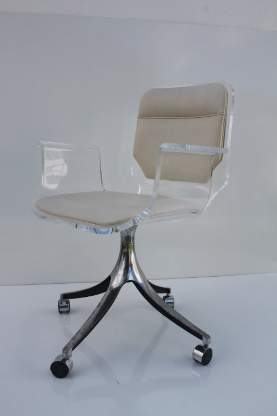 Stunning 1960 s Lucite Desk Chair Chrome by miamishores1985