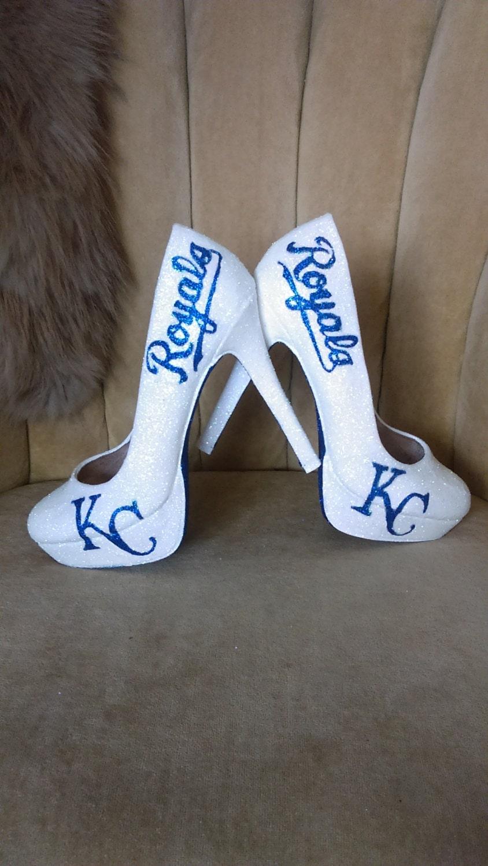 🔎zoom - Custom Made Fan Art Heels. KC Royals Heels. Glitter Heels.