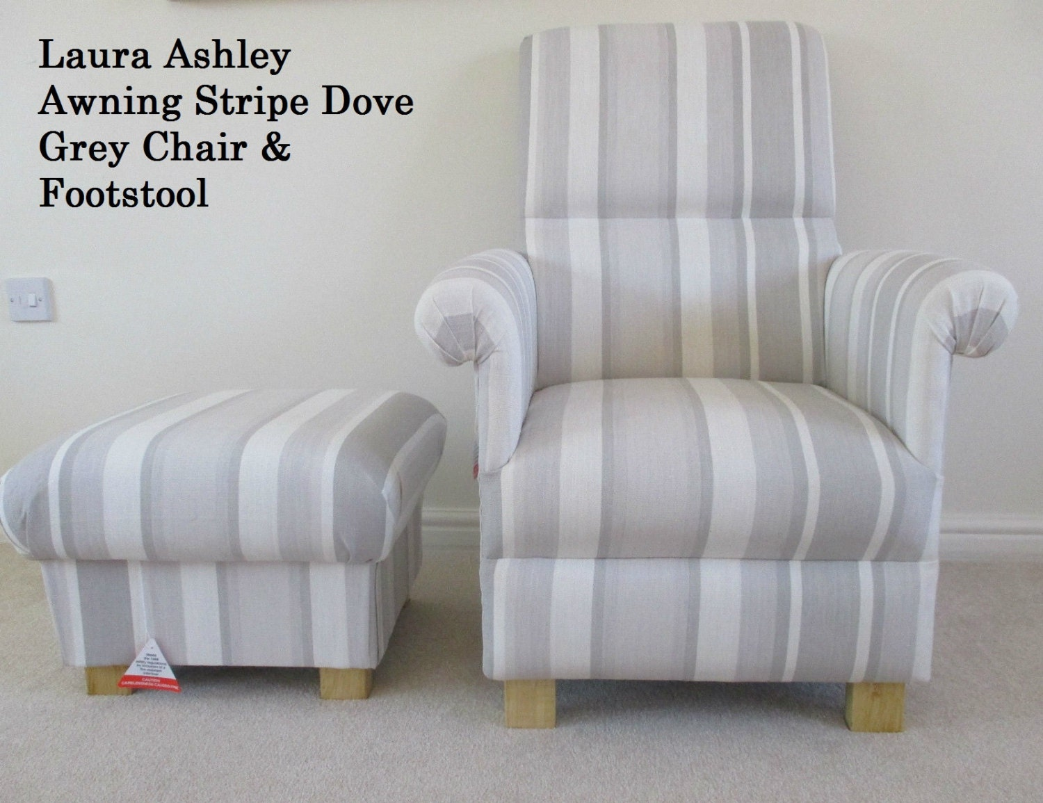Laura Ashley Awning Stripe Dove Grey Fabric Chair & Footstool