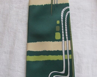 REDUCED! 70s Vintage Cognizanti Super Wide Abstract Designer Tie in Greens, Yellow and White