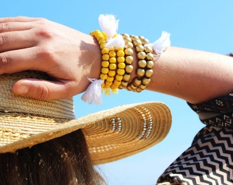 TRIO Bracelet for the summer (wooden beads, Pompom)-Bohemian and ethnic look