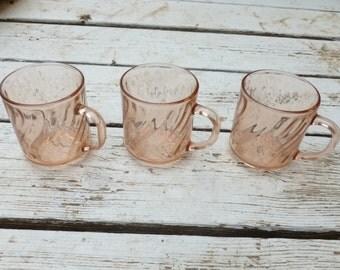 FREE SHIPPING! Set of three rose pink glasses.