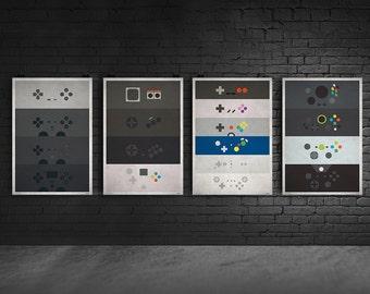Controller Minimalist Posters - All 4 Consoles - Microsoft Xbox, Sony Paystation, Nintendo, Sega