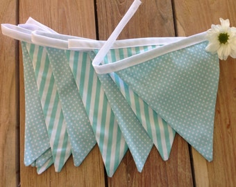 Pretty Pastel Bunting-turquoise stripes & dots
