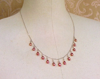 necklace with pink freshwater pearls