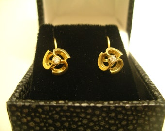 9K Yellow Gold & Diamond (0.20ct in total) clips