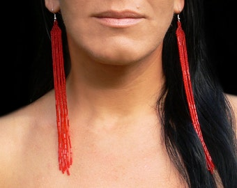 Very Long Earrings. Long Red Earrings. Shoulder Dusters. Beadwork.