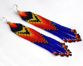 Native American Beaded Earrings Inspired. Yellow Blue Red Black Orange Earrings. Very Long Earrings. Beadwork