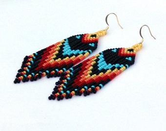 Beaded Native American Earrings Inspired. Geometric Long Earrings. Colorful Dangle Long Earrings. Beadwork
